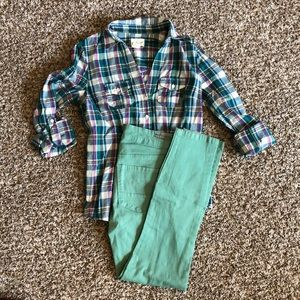 Skinny jean + plaid button down outfit